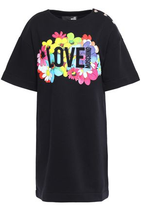 LOVE MOSCHINO Button-detailed printed French cotton-terry mini dress