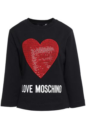 LOVE MOSCHINO Embellished French cotton-terry sweatshirt