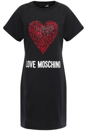 LOVE MOSCHINO Sequined French cotton-blend terry mini dress