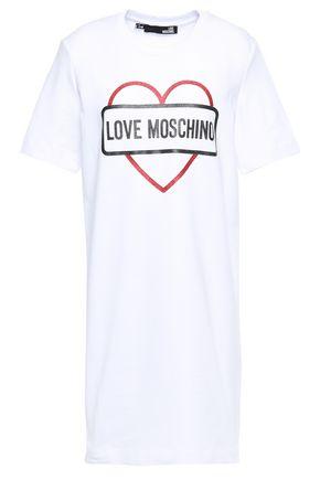 LOVE MOSCHINO Glittered cotton-blend jersey mini dress