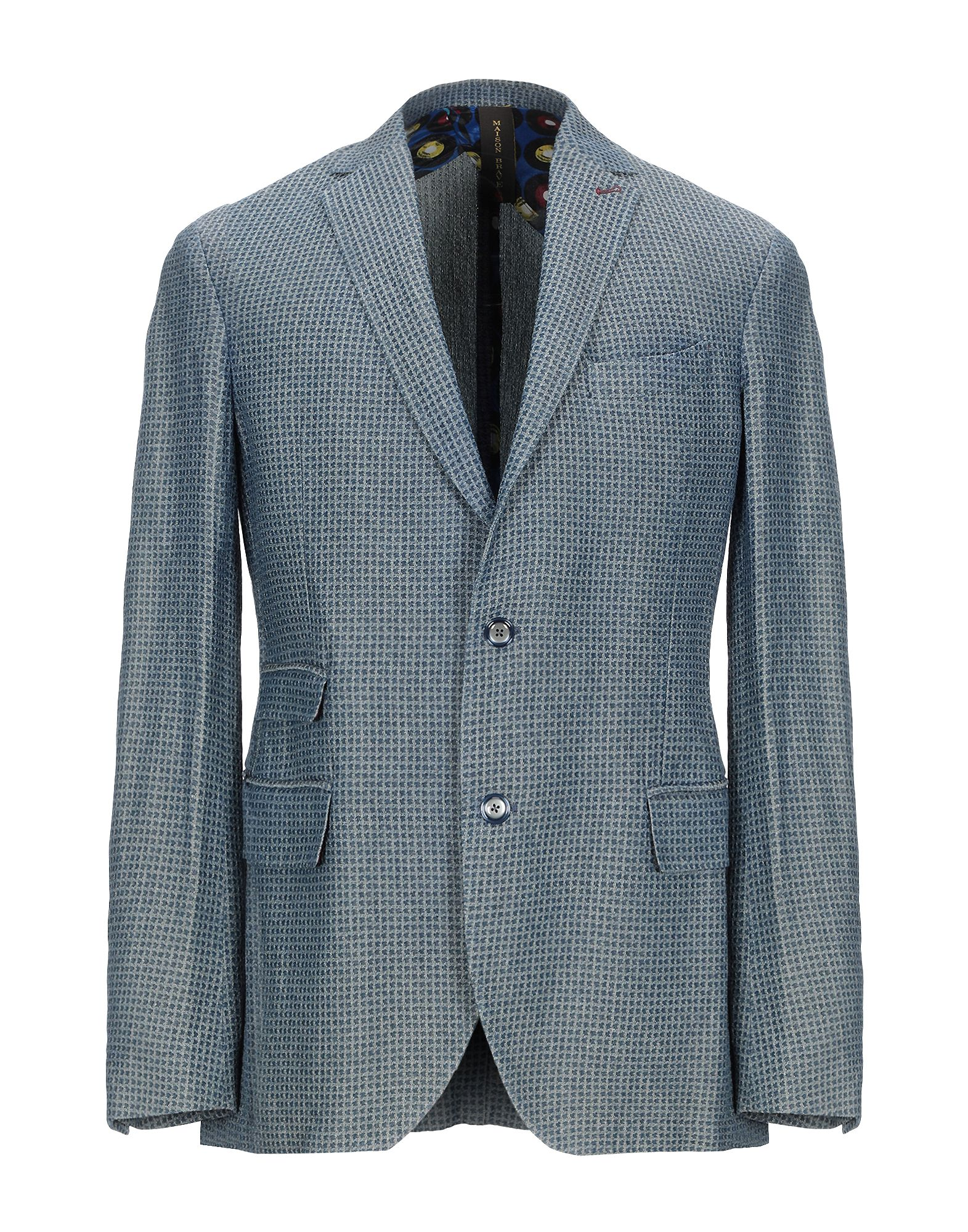 《セール開催中》MAISON BRAVE メンズ テーラードジャケット ブルーグレー 48 麻 58% / コットン 42%