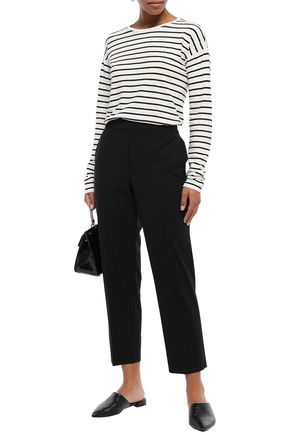 THEORY Striped linen and cotton-blend jersey top