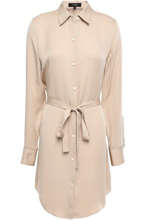 THEORY Belted silk mini shirt dress