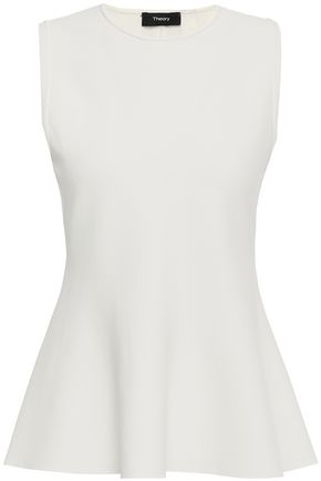 THEORY Stretch-ponte peplum top
