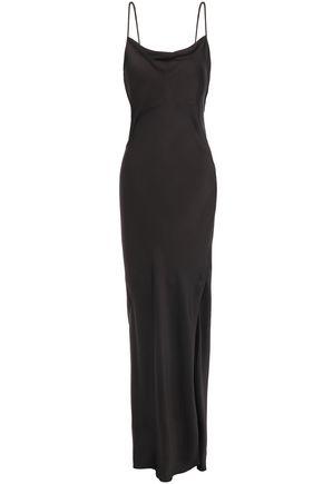 THEORY Draped silk-charmeuse maxi slip dress