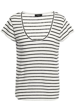 THEORY Striped linen and cotton-blend jersey T-shirt