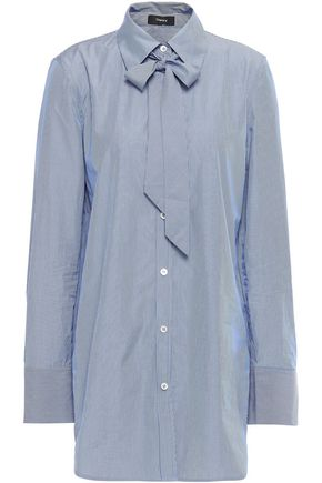 THEORY Pussy-bow striped cotton-poplin shirt