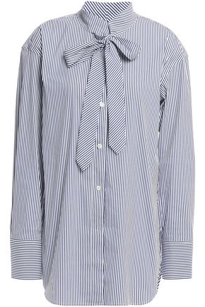 THEORY Weekender pussy-bow striped cotton-blend poplin blouse