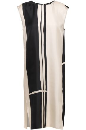 THEORY Striped satin-twill dress