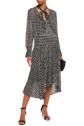 THEORY Pussy-bow polka-dot fil coupé chiffon midi dress
