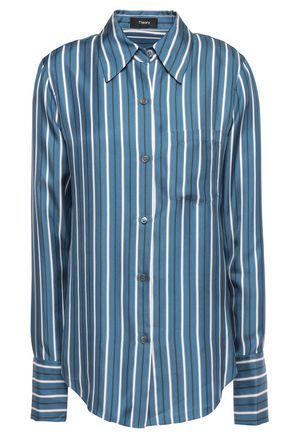 THEORY Striped silk satin-twill