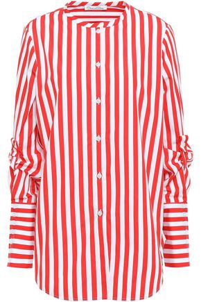 OSCAR DE LA RENTA Striped cotton-poplin shirt