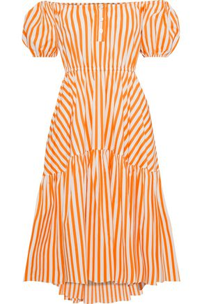 CAROLINE CONSTAS Bardot off-the-shoulder striped cotton-blend poplin dress