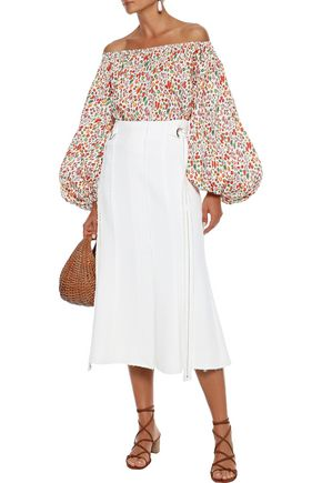 Caroline Constas Tops CAROLINE CONSTAS WOMAN ANDROS OFF-THE-SHOULDER PRINTED COTTON-BLEND POPLIN TOP MULTICOLOR