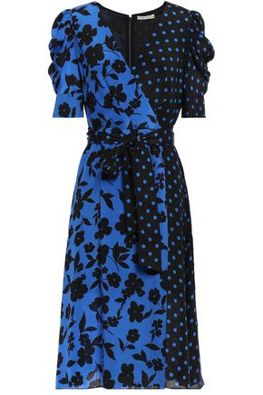 ALICE + OLIVIA Wrap-effect printed silk crepe de chine dress