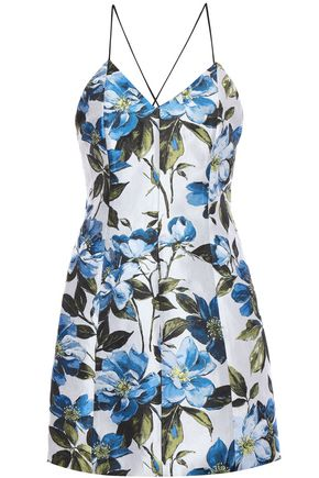ALICE + OLIVIA Tayla floral-jacquard mini dress