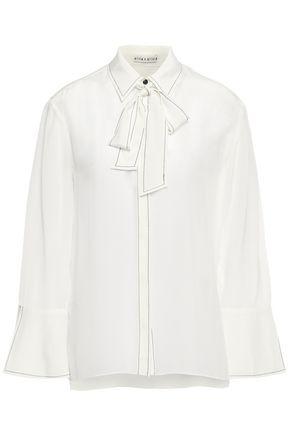 ALICE + OLIVIA Pussy-bow silk crepe de chine shirt
