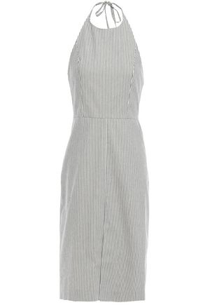 ALICE + OLIVIA Striped stretch-cotton canvas halterneck dress