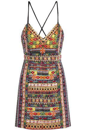 ALICE + OLIVIA فستان قصير مكشوف الظهر من الحرير المطرز والمزين