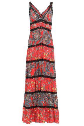 ALICE + OLIVIA فستان طويل بطبقات من الكريب المطبع برسومات مع تقليمات من الدانتيل
