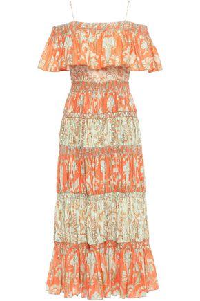 """ALICE + OLIVIA فستان طويل """"كيا"""" مفتوح الكتفين من الفوال القطني المطبع برسومات"""