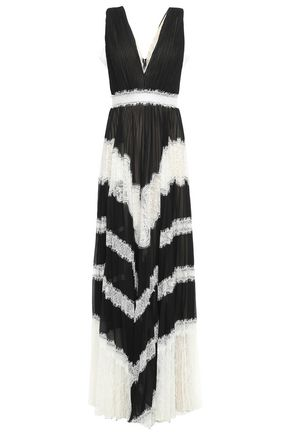 ALICE + OLIVIA فستان سهرة من قماش جورجيت مع تقليمات من الدانتيل