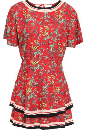 ALICE + OLIVIA فستان قصير من الكريب المطبع برسومات