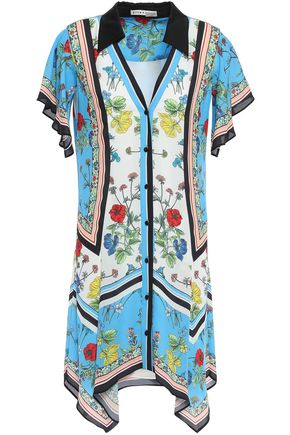 ALICE + OLIVIA Asymmetric floral-print crepe de chine mini shirt dress