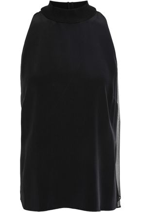 CUSHNIE Silk crepe de chine and chiffon blouse