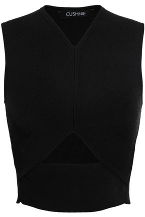 CUSHNIE Cropped cutout stretch ribbed-knit top