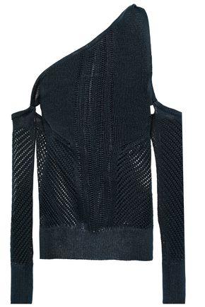 CUSHNIE One-shoulder open-knit top