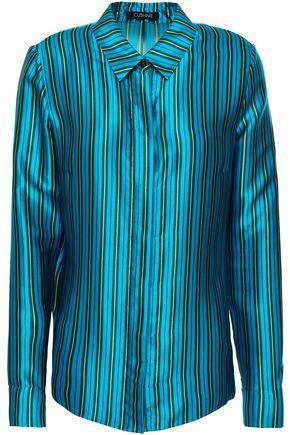 CUSHNIE Striped silk-satin shirt