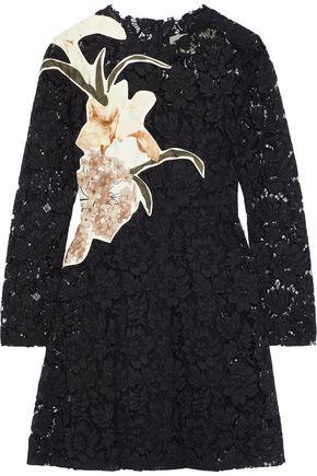VALENTINO Appliquéd silk-blend corded lace mini dress