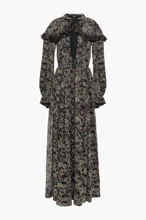 GIAMBATTISTA VALLI Cape-effect embellished printed silk-voile maxi dress