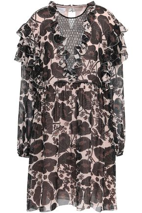 GIAMBATTISTA VALLI Lace-paneled ruffled silk crepe de chine mini dress