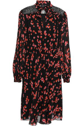 GIAMBATTISTA VALLI Tie-neck corded lace-paneled floral-print silk-chiffon dress