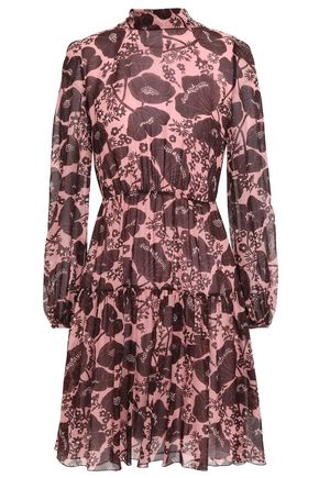 GIAMBATTISTA VALLI Pussy-bow floral-print silk-georgette mini dress