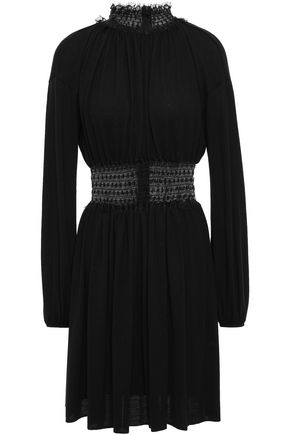 GIAMBATTISTA VALLI Point d'esprit-paneled shirred wool mini dress