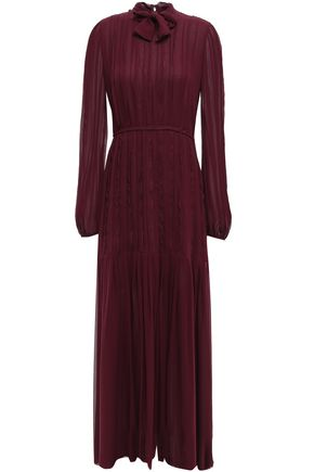 GIAMBATTISTA VALLI Tie-neck pintucked silk-chiffon maxi dress