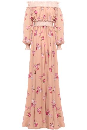 GIAMBATTISTA VALLI Off-the-shoulder gathered floral-print silk-chiffon gown