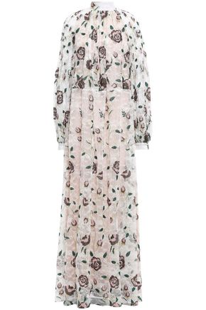 GIAMBATTISTA VALLI Pleated embroidered metallic lace maxi dress
