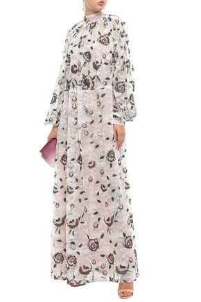 Giambattista Valli Woman Pleated Embroidered Metallic Lace Maxi Dress White