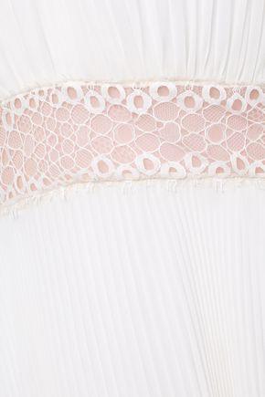 GIAMBATTISTA VALLI Pleated lace-trimmed silk-georgette gown