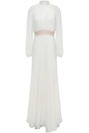 GIAMBATTISTA VALLI Pleated lace-trimmed silk-georgette gown