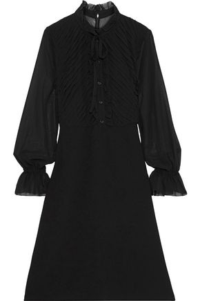 MIKAEL AGHAL Bow-detailed pintucked chiffon and crepe dress