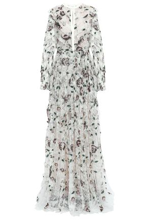 GIAMBATTISTA VALLI Ruffle-trimmed embroidered metallic lace gown