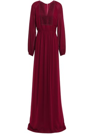 GIAMBATTISTA VALLI Guipure lace-paneled gathered crepe gown