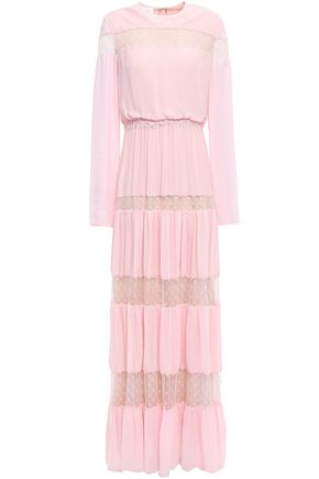 GIAMBATTISTA VALLI Point d'esprit-paneled gathered crepe maxi dress