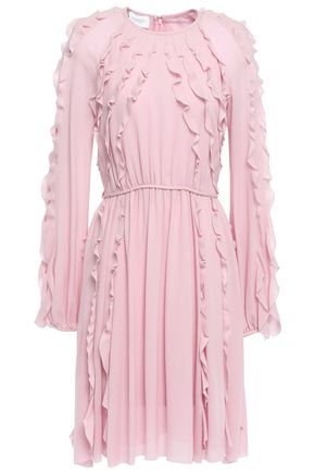 GIAMBATTISTA VALLI Ruffle-trimmed gathered crepe dress