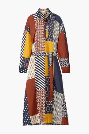 TORY BURCH Bianca patchwork-effect silk-twill midi dress